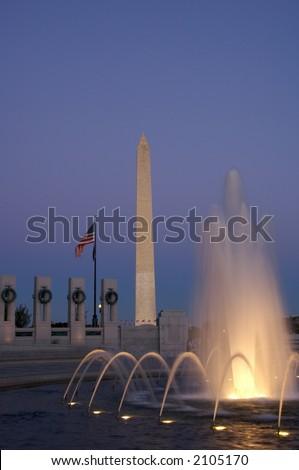 World War II Memorial and Washington Monument at Twilight - stock photo
