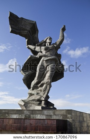 World War II Victory Monument to Soviet Army in Riga  - stock photo
