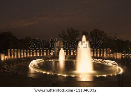 World War 2 Memorial in Washington DC viewed at night - stock photo
