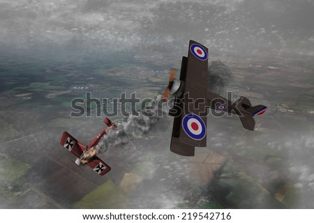World War One Aircraft in a dogfight. British vs Germans. Over the battlefields of Europe. (Computer Art) - stock photo