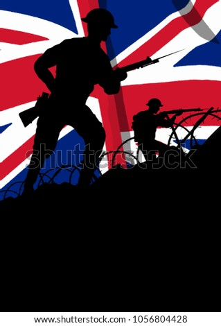 World War One British solider going forward with a gun silhouette.  UK flag. Space for text. Original computer illustration.