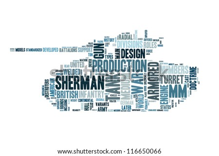 World War 2 tank in word collage - stock photo