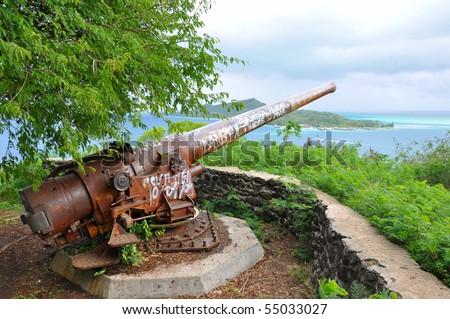 World War Two artillery gun on the island of Bora Bora in Tahiti - stock photo