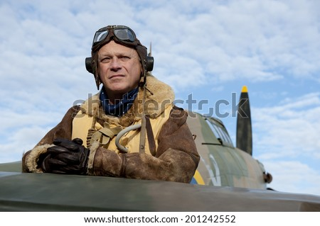 World War Two Fighter Pilot - stock photo