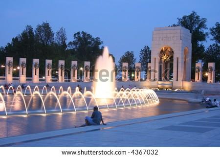 world war two memorial fountain - stock photo