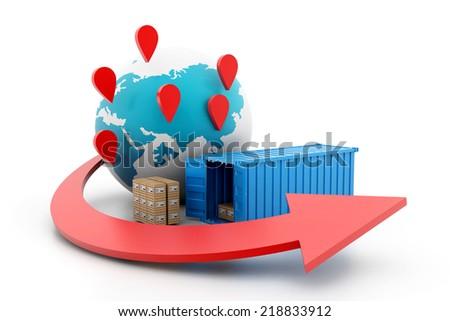 World wide cargo transportation - stock photo