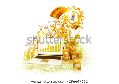 World wide cargo transportation growth chart - stock photo