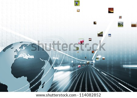 World wide Internet illustration with blue globe and picture flow - stock photo
