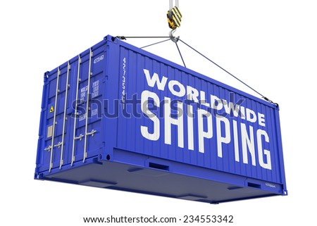 World wide Shipping - Red Cargo Container hoisted with hook Isolated on White Background. - stock photo