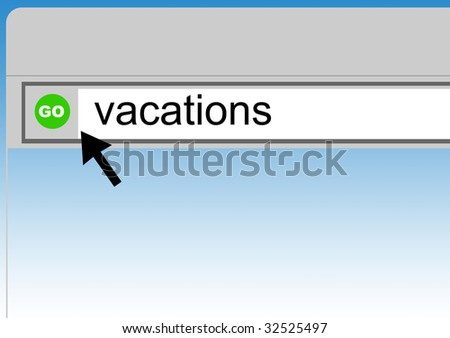 World Wide Web browser background with word vacations and cursor arrow. - stock photo