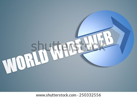 World Wide Web - 3d text render illustration concept with a arrow in a circle on blue-grey background - stock photo