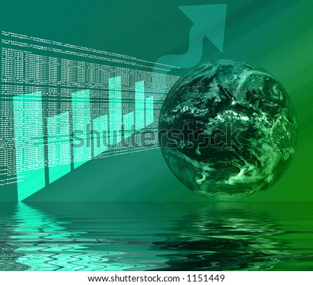 World Wide Web - Internet Illustration with Globe, html, code, and graph 3d Reflected in Water - stock photo