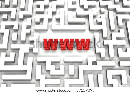 World Wide Web Maze showing that Internet could sometimes be like a labyrinth - 3D image - stock photo