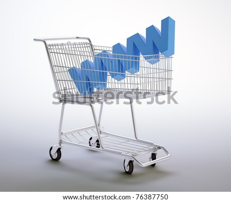 World wide web symbol inside a shopping cart - stock photo