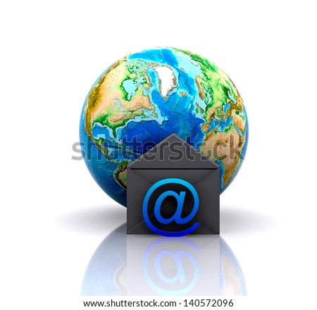 World with e-mail icon (Elements of this image furnished by NASA) - stock photo