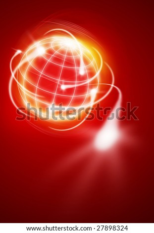 world with international movments as shooting stars - stock photo