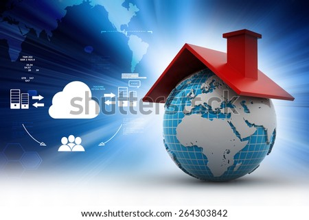 World with roof - stock photo