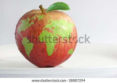 worldly apple - stock photo