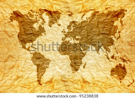 worldmap on old wrinkle paper - stock photo