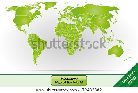 Worldmap with borders in green