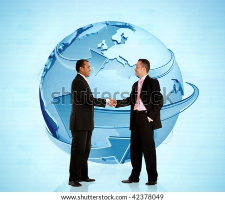 Worldwide business men handshaking and looking happy