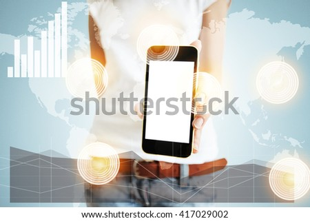 Worldwide connection interfaces, visual effects. Young female designer presenting her project on mobile phone. Student girl showing sensational news on smart phone to her friends. Technology concept - stock photo