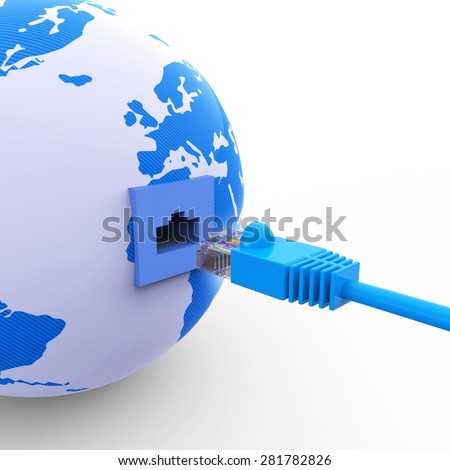 Worldwide Connection Representing Web Site And Planet - stock photo