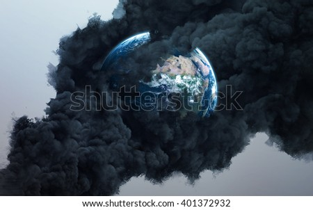 Worldwide disaster. Elements of this image furnished by NASA - stock photo
