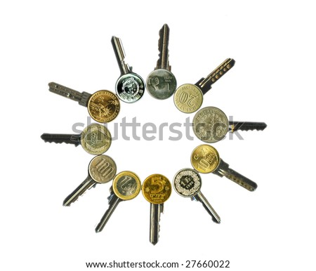 Worldwide financial latchkeys image isolated, on white. - stock photo