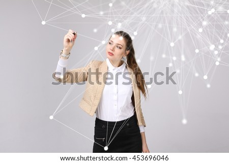 Worldwide network or wireless internet connection futuristic concept. Woman working with linked dots. - stock photo