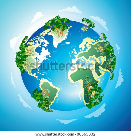 Worldwide resort concept: beach and tropical forests everywhere. Raster version. Vector version is also available. - stock photo