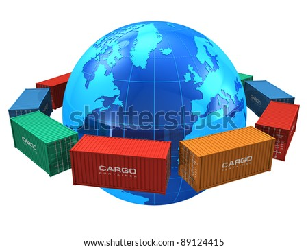 Worldwide shipping concept: row of color cargo containers around the blue Earth globe isolated on white background - stock photo