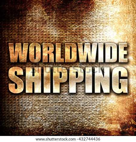 worldwide shipping, 3D rendering, metal text on rust background - stock photo