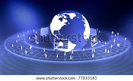 Worldwide Virtual Business concept - stock photo
