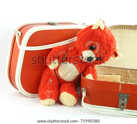Worm bear and small suitcases - stock photo