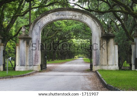 Wormsloe State Historic Site located at Savannah Georgia.  Developed by Noble jones as a working plantation. - stock photo