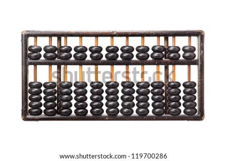 worn aged wooden abacus on white background - stock photo