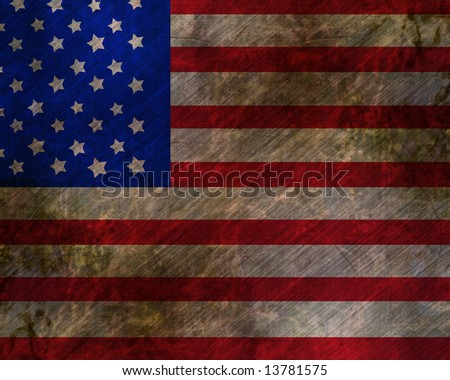 worn american flag waving in the wind