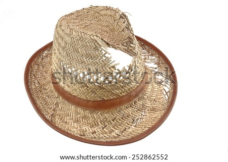 Worn And  Holey Straw Hat Isolated On White Background - stock photo