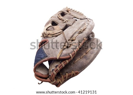 Worn and used baseball  glove isolated on white - stock photo