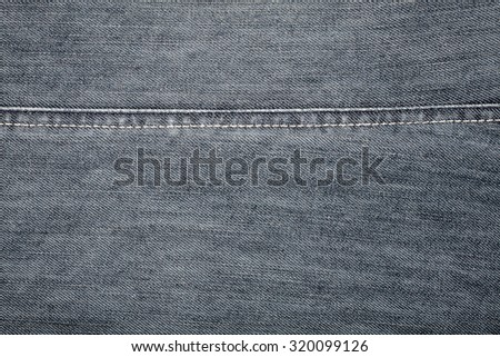 Worn black jeans texture with stitch      - stock photo