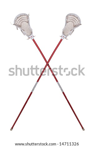 Worn lacrosse sticks crossed isolated over white - stock photo