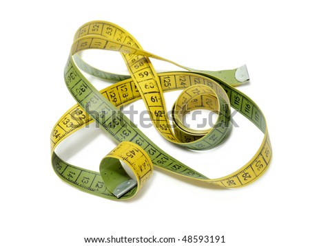 Worn out yellow and green tailor's measuring tape shot over white background
