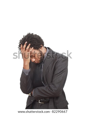 Worried black businessman