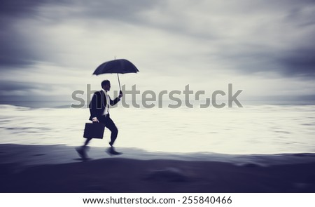 Worried Businessman Running Beach Concept