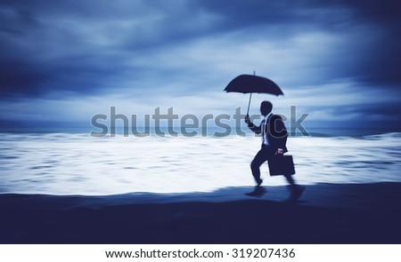 Worried Businessman Running Stress Pressured Lost Concept - stock photo
