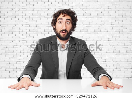 worried businessman with sit table