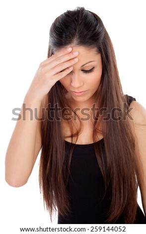 Worried cool woman isolated on a white background