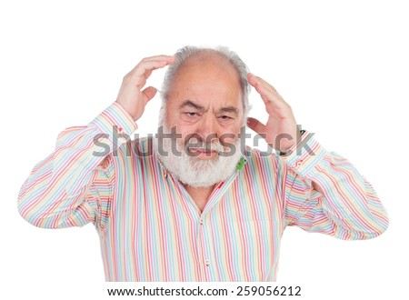 Worried elderly man crying isolated on a white background - stock photo