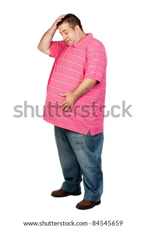 Worried fat man with pink shirt isolated on white background - stock photo